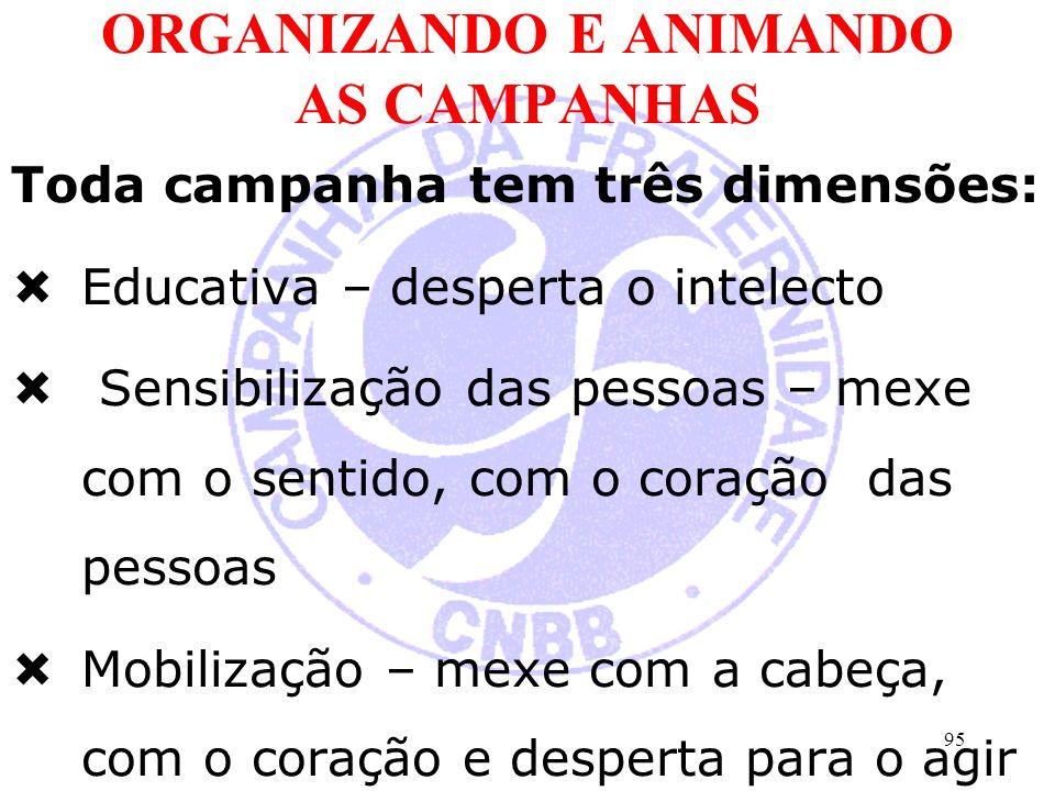 ORGANIZANDO E ANIMANDO AS CAMPANHAS