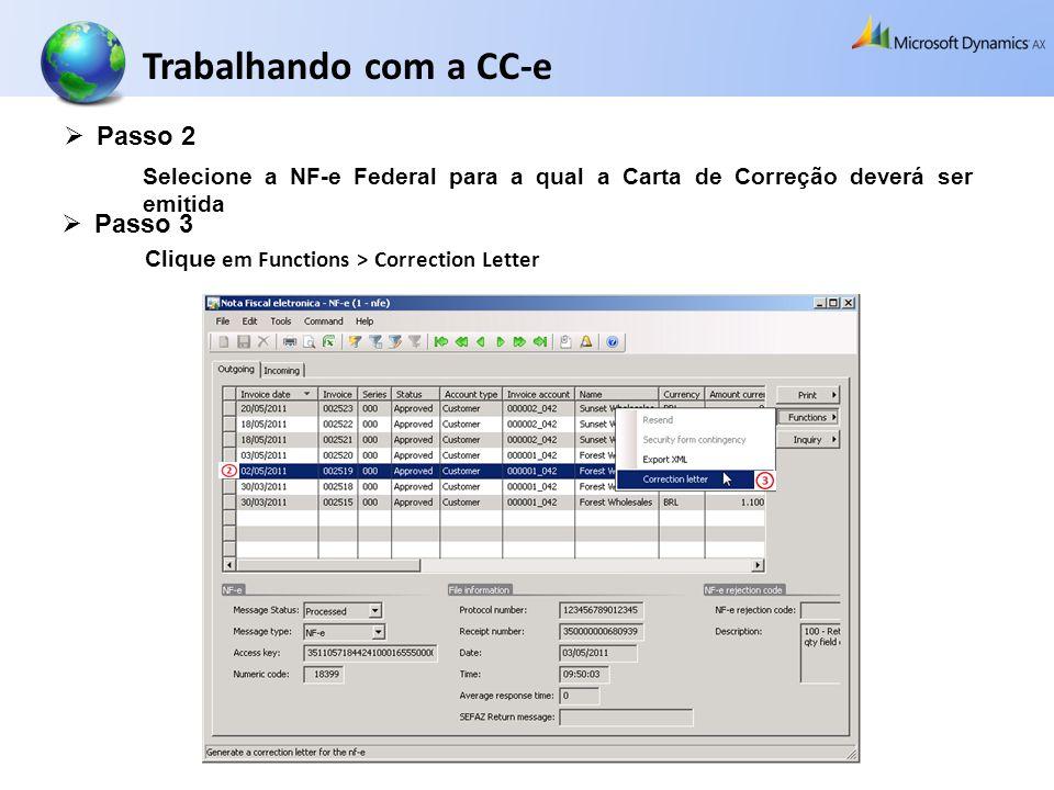 Trabalhando com a CC-e Passo 2 Passo 3
