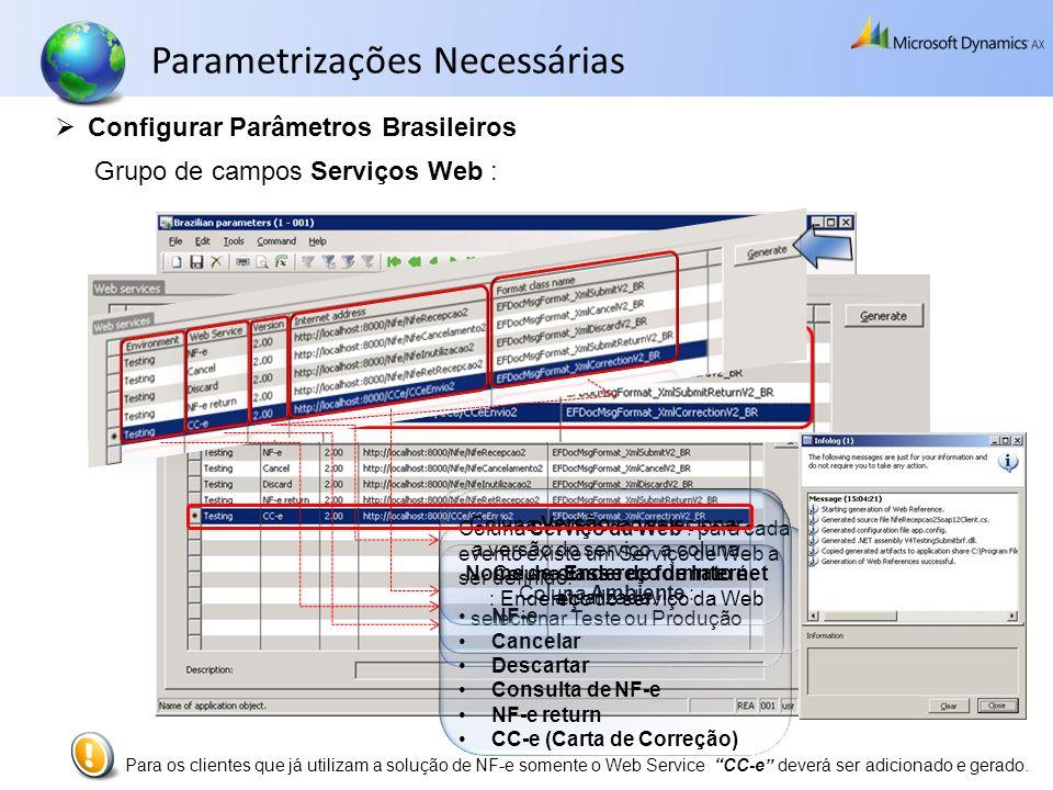 Parametrizações Necessárias