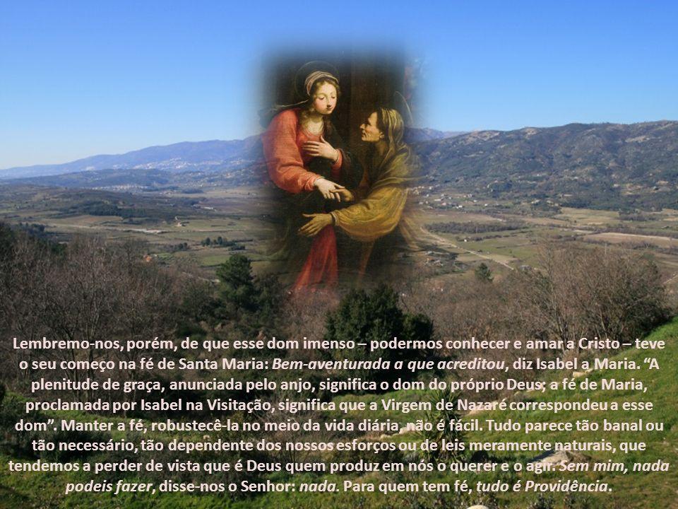 Lembremo-nos, porém, de que esse dom imenso – podermos conhecer e amar a Cristo – teve o seu começo na fé de Santa Maria: Bem-aventurada a que acreditou, diz Isabel a Maria. A plenitude de graça, anunciada pelo anjo, significa o dom do próprio Deus; a fé de Maria, proclamada por Isabel na Visitação, significa que a Virgem de Nazaré correspondeu a esse dom . Manter a fé, robustecê-la no meio da vida diária, não é fácil. Tudo parece tão banal ou tão necessário, tão dependente dos nossos esforços ou de leis meramente naturais, que tendemos a perder de vista que é Deus quem produz em nós o querer e o agir. Sem mim, nada podeis fazer, disse-nos o Senhor: nada. Para quem tem fé, tudo é Providência.