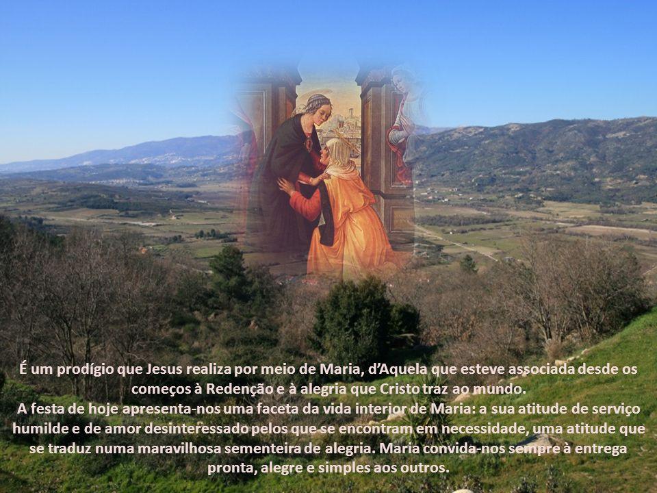 É um prodígio que Jesus realiza por meio de Maria, d'Aquela que esteve associada desde os começos à Redenção e à alegria que Cristo traz ao mundo.