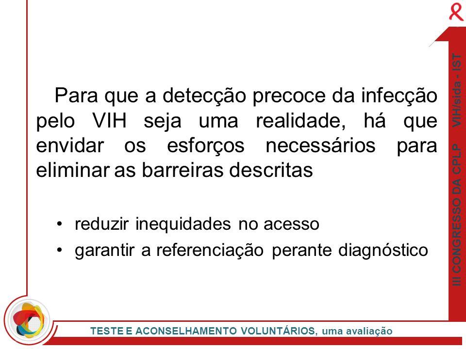 Para que a detecção precoce da infecção pelo VIH seja uma realidade, há que envidar os esforços necessários para eliminar as barreiras descritas