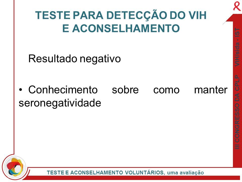 TESTE PARA DETECÇÃO DO VIH E ACONSELHAMENTO