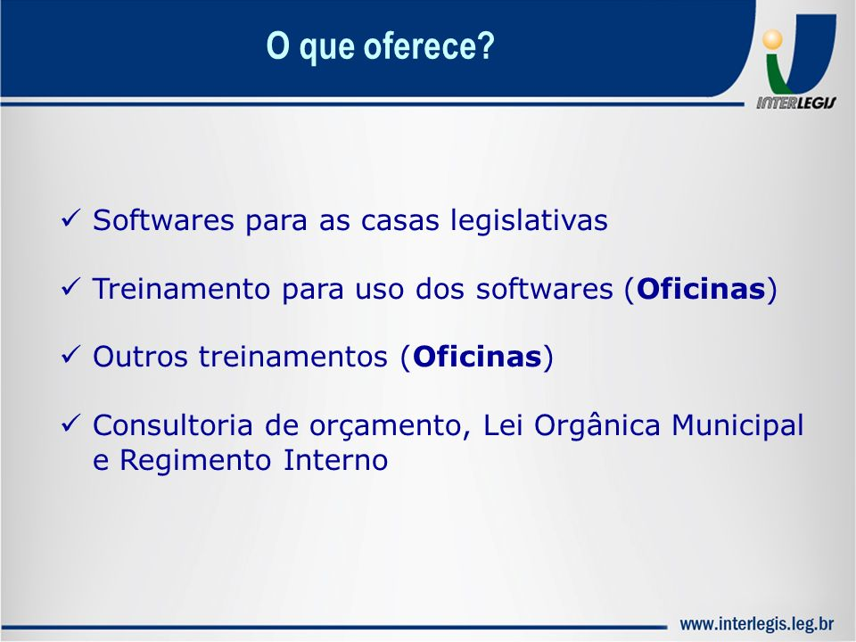 O que oferece Softwares para as casas legislativas