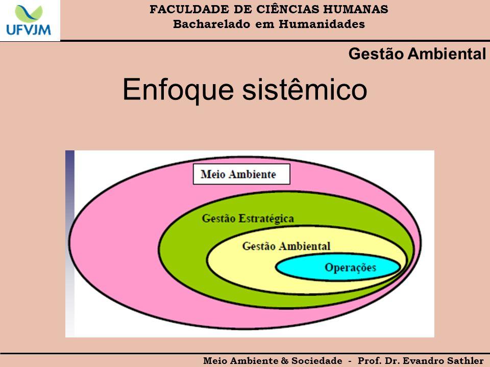 Enfoque sistêmico Gestão Ambiental FACULDADE DE CIÊNCIAS HUMANAS