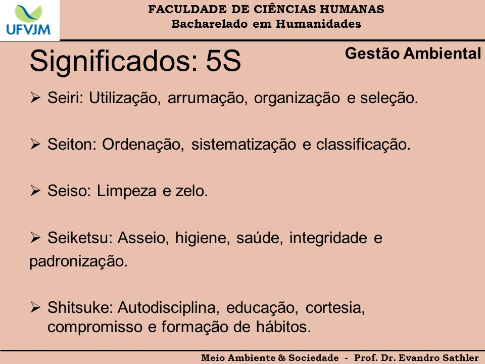 Significados: 5S Gestão Ambiental