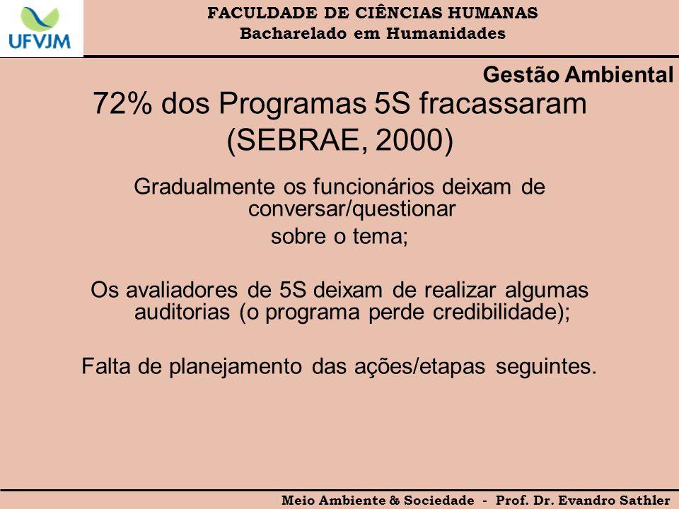 72% dos Programas 5S fracassaram (SEBRAE, 2000)