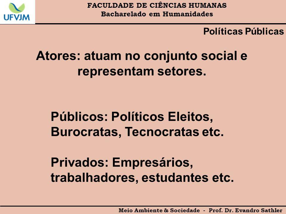 Atores: atuam no conjunto social e representam setores.