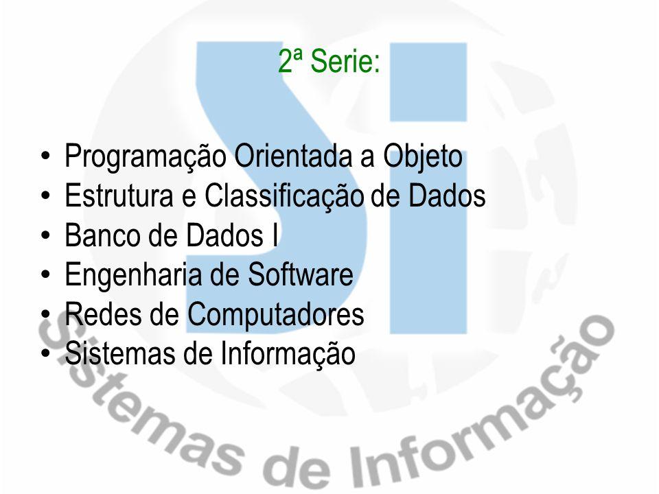 2ª Serie: Programação Orientada a Objeto. Estrutura e Classificação de Dados. Banco de Dados I. Engenharia de Software.