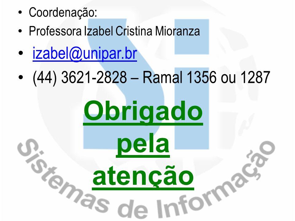 Obrigado pela atenção izabel@unipar.br