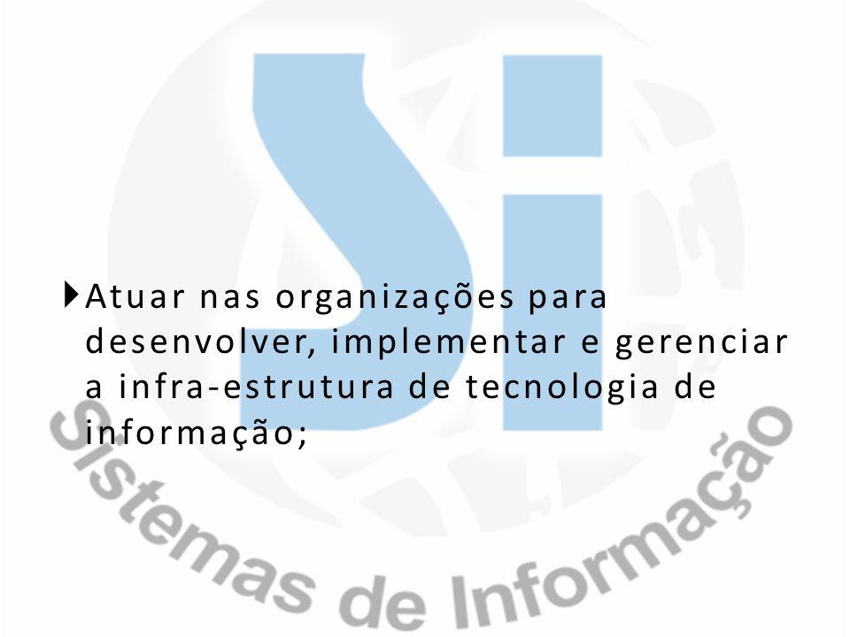 Atuar nas organizações para desenvolver, implementar e gerenciar a infra-estrutura de tecnologia de informação;
