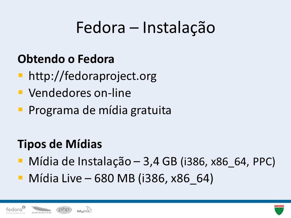 Fedora – Instalação Obtendo o Fedora http://fedoraproject.org