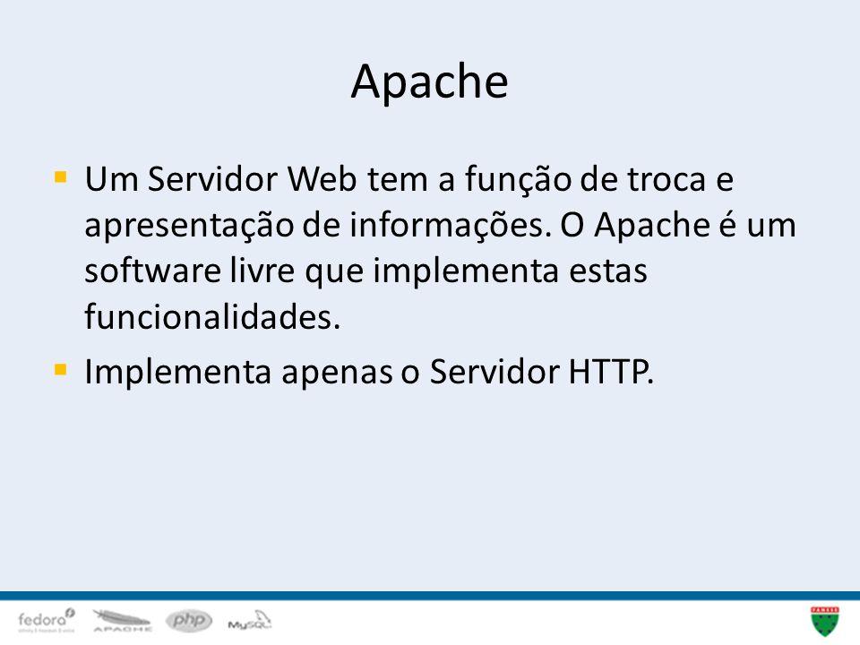 Apache Um Servidor Web tem a função de troca e apresentação de informações. O Apache é um software livre que implementa estas funcionalidades.