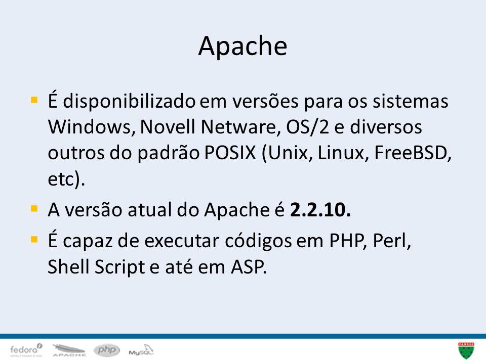 Apache É disponibilizado em versões para os sistemas Windows, Novell Netware, OS/2 e diversos outros do padrão POSIX (Unix, Linux, FreeBSD, etc).