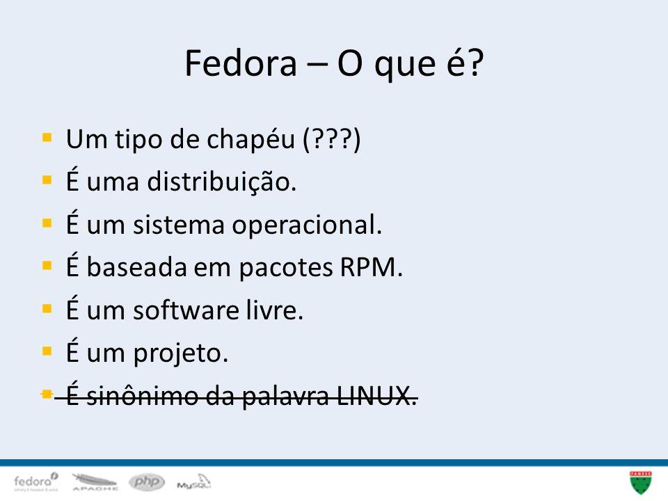 Fedora – O que é Um tipo de chapéu ( ) É uma distribuição.