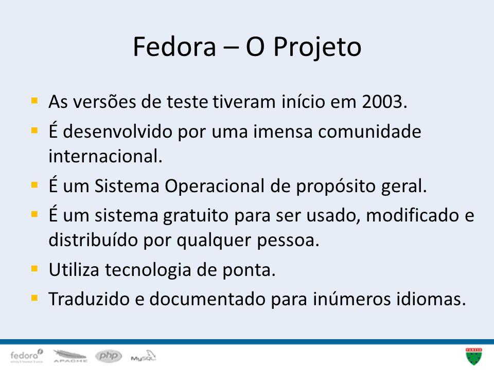 Fedora – O Projeto As versões de teste tiveram início em 2003.