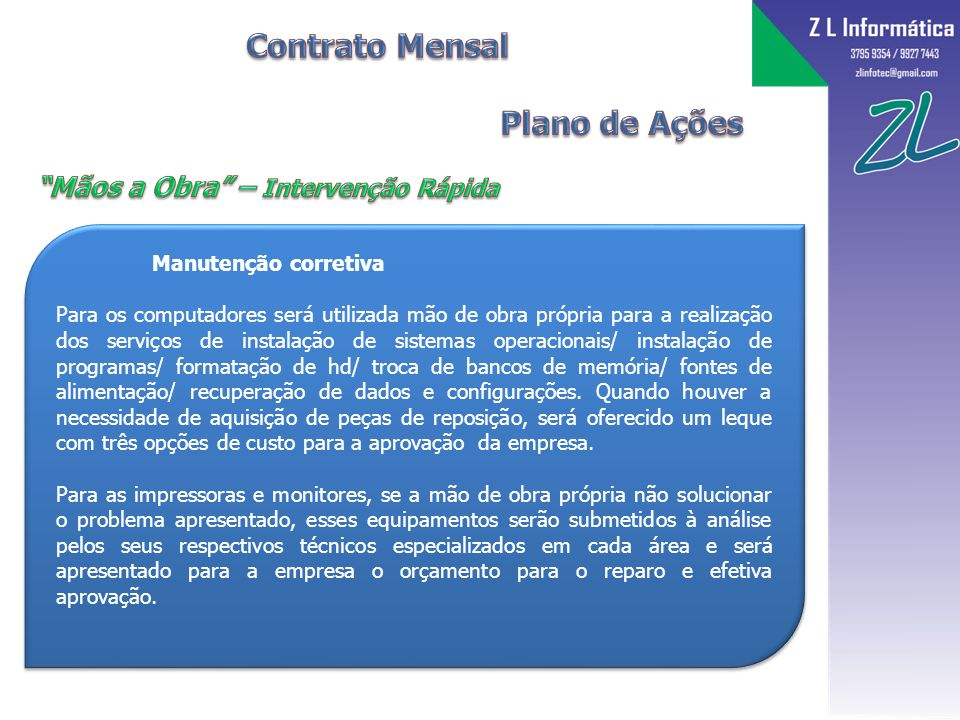 Contrato Mensal Plano de Ações Mãos a Obra – Intervenção Rápida
