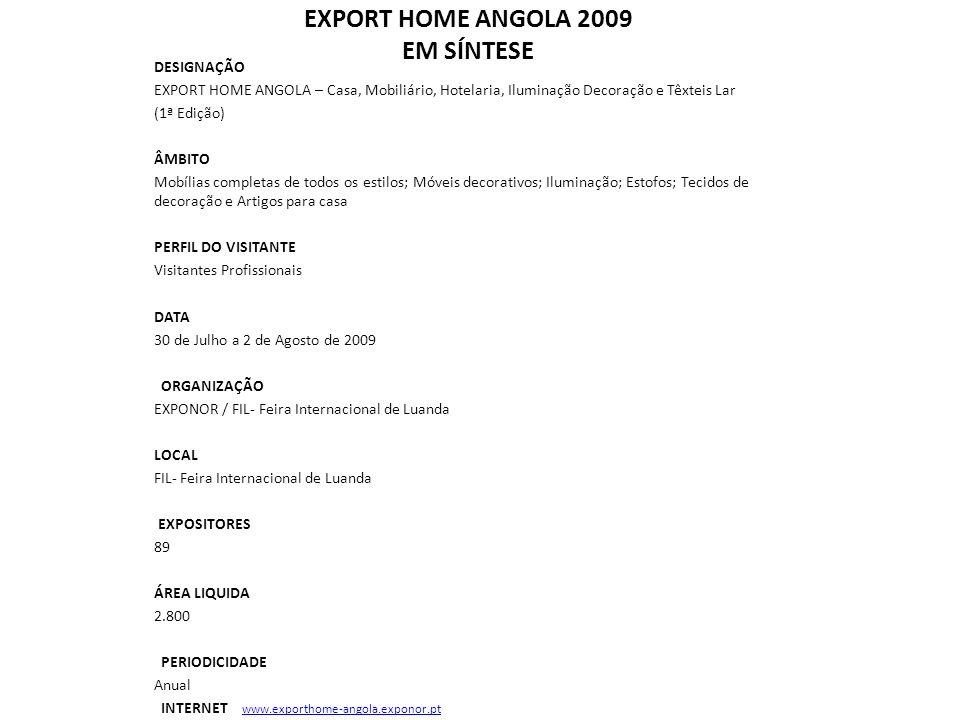 EXPORT HOME ANGOLA 2009 EM SÍNTESE