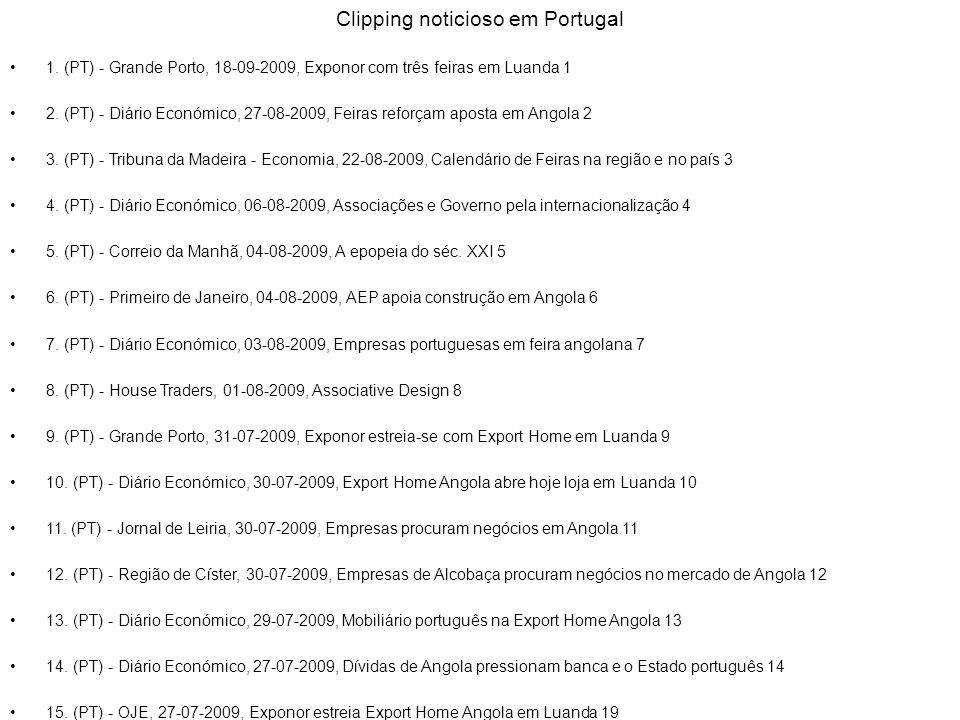 Clipping noticioso em Portugal
