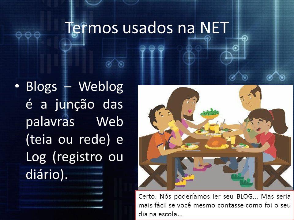 Termos usados na NET Blogs – Weblog é a junção das palavras Web (teia ou rede) e Log (registro ou diário).