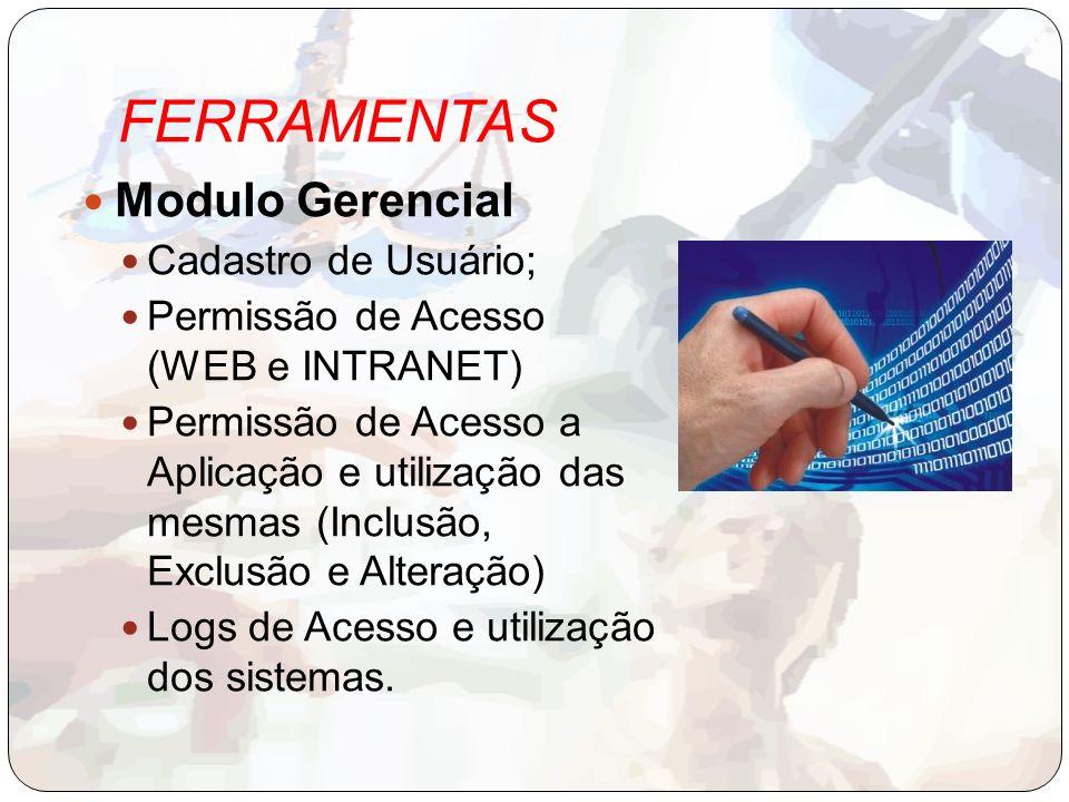 FERRAMENTAS Modulo Gerencial Cadastro de Usuário;