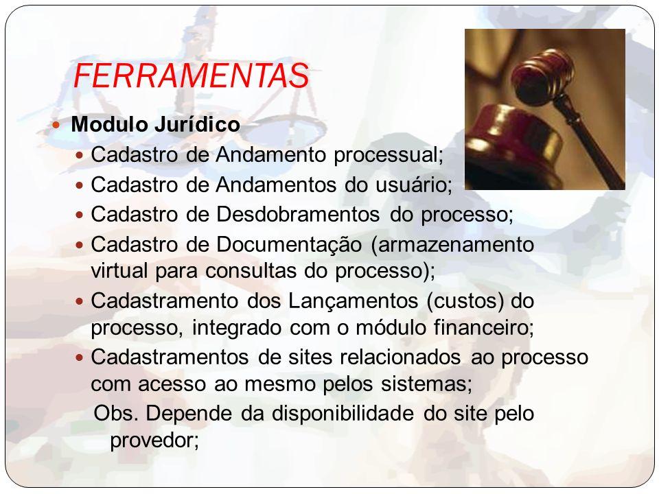 FERRAMENTAS Modulo Jurídico Cadastro de Andamento processual;