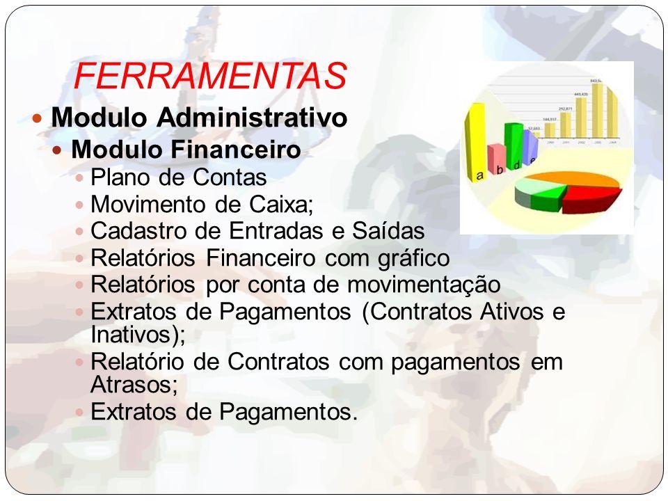 FERRAMENTAS Modulo Administrativo Modulo Financeiro Plano de Contas