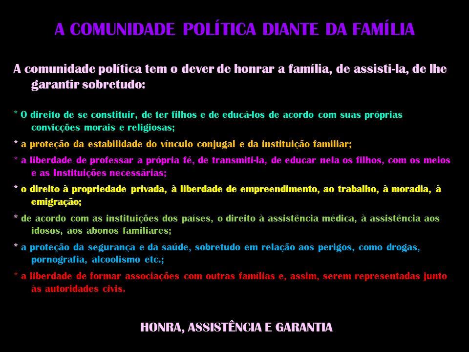 A COMUNIDADE POLÍTICA DIANTE DA FAMÍLIA
