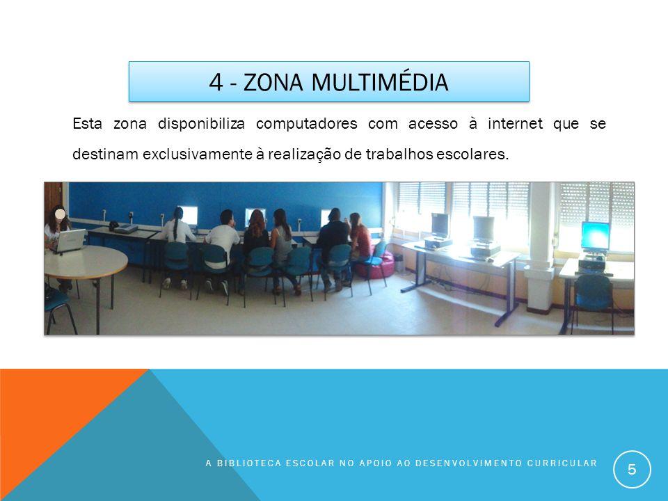 4 - Zona multimédia Esta zona disponibiliza computadores com acesso à internet que se destinam exclusivamente à realização de trabalhos escolares.