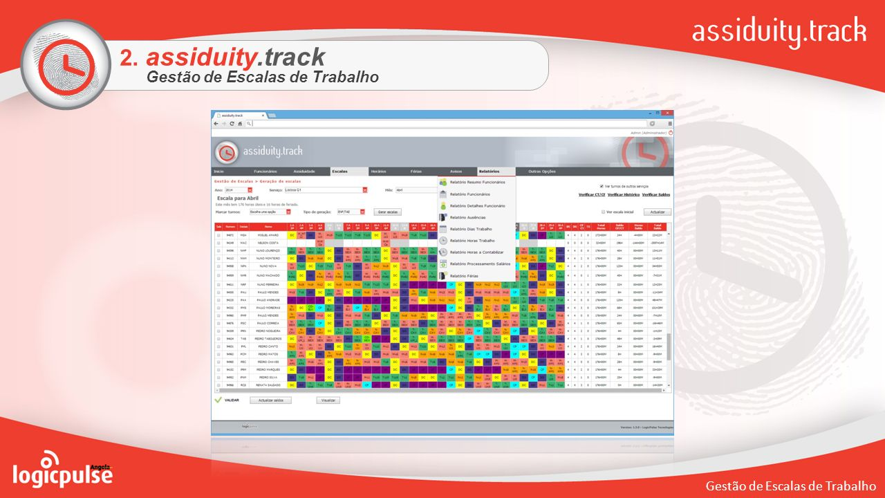 2. assiduity.track Gestão de Escalas de Trabalho