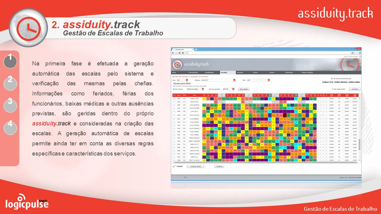 2. assiduity.track 1 2 3 4 Gestão de Escalas de Trabalho