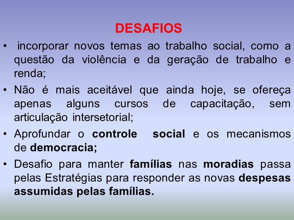 DESAFIOS incorporar novos temas ao trabalho social, como a questão da violência e da geração de trabalho e renda;