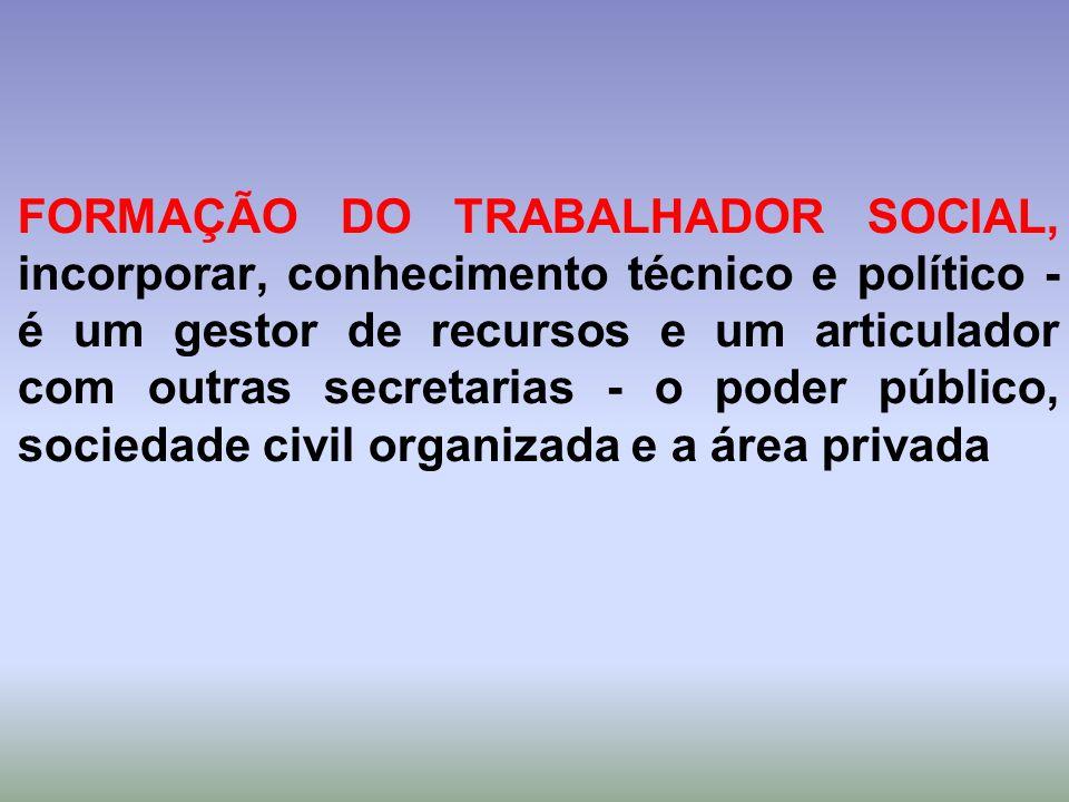 FORMAÇÃO DO TRABALHADOR SOCIAL, incorporar, conhecimento técnico e político - é um gestor de recursos e um articulador com outras secretarias - o poder público, sociedade civil organizada e a área privada