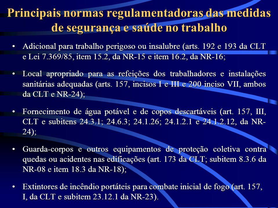Principais normas regulamentadoras das medidas de segurança e saúde no trabalho