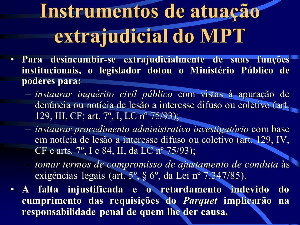 Instrumentos de atuação extrajudicial do MPT
