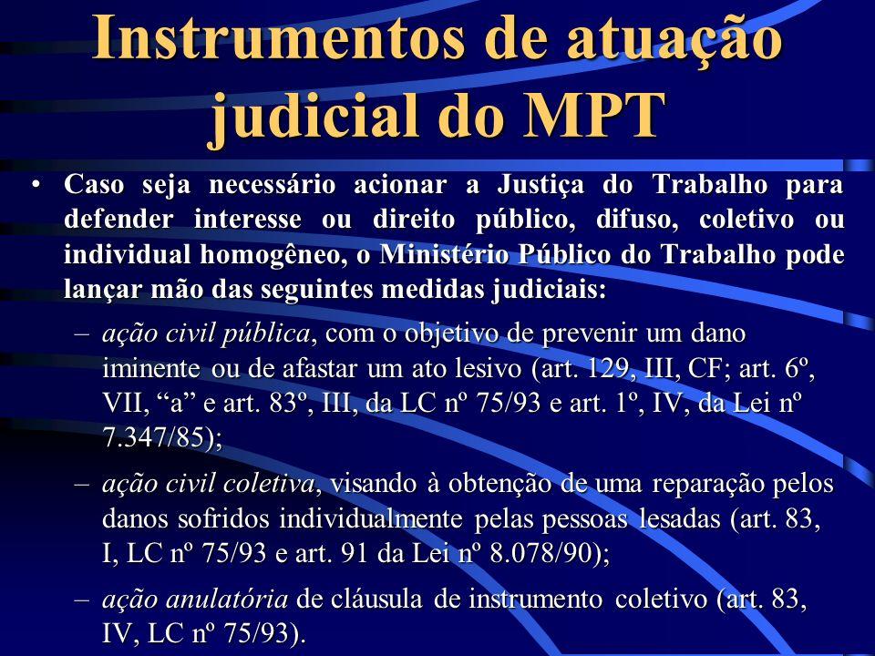 Instrumentos de atuação judicial do MPT