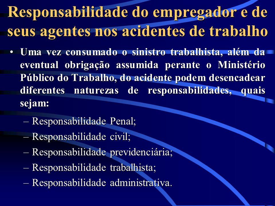Responsabilidade do empregador e de seus agentes nos acidentes de trabalho