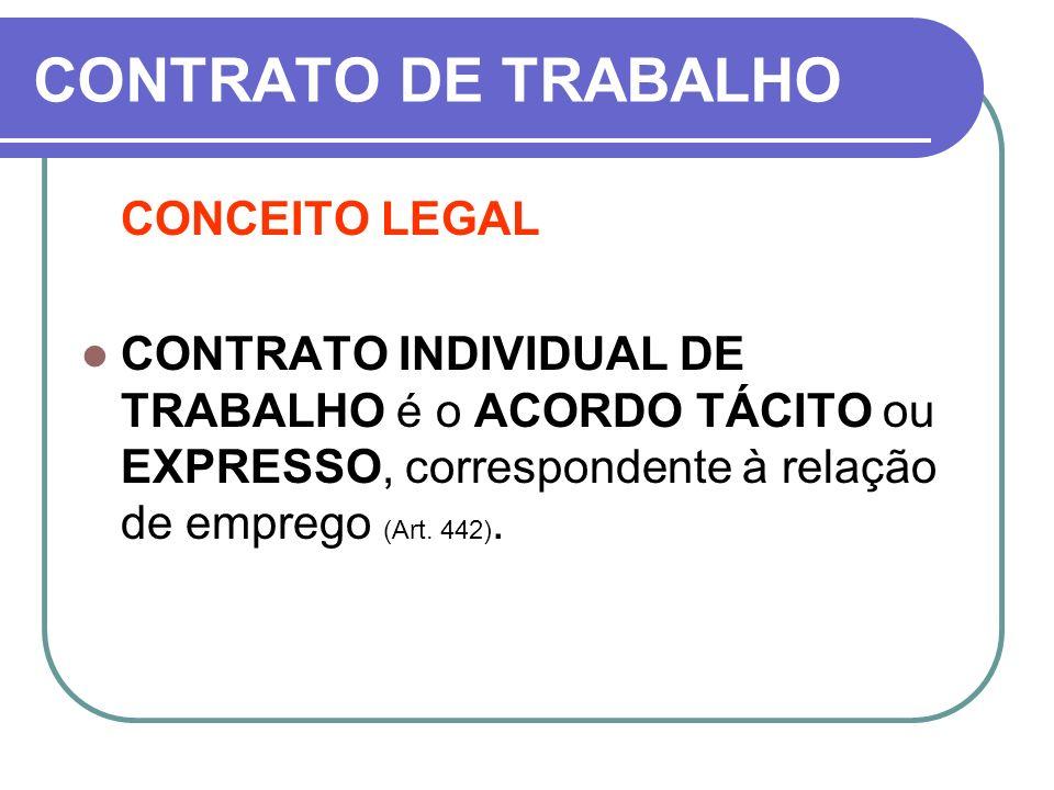 CONTRATO DE TRABALHO CONCEITO LEGAL