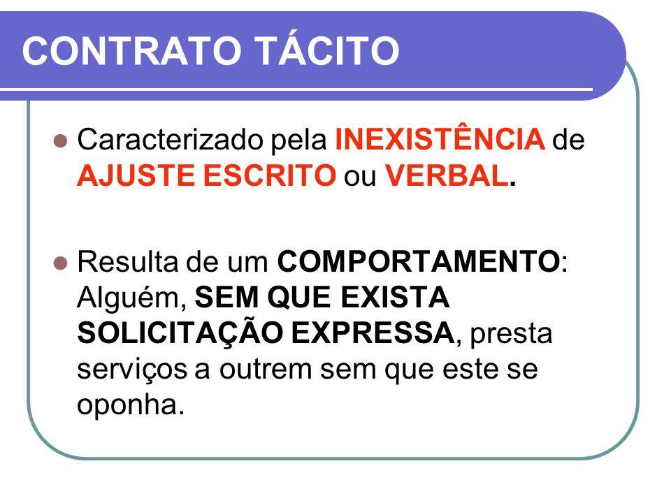 CONTRATO TÁCITO Caracterizado pela INEXISTÊNCIA de AJUSTE ESCRITO ou VERBAL.