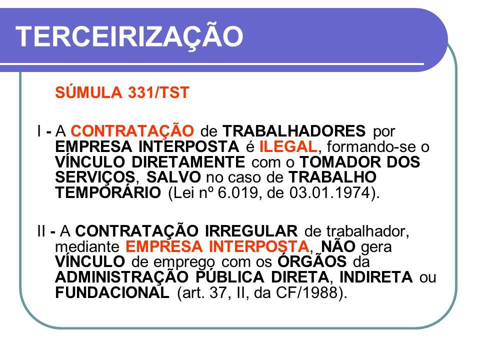 TERCEIRIZAÇÃO SÚMULA 331/TST