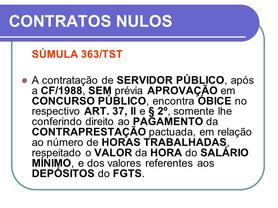 CONTRATOS NULOS SÚMULA 363/TST