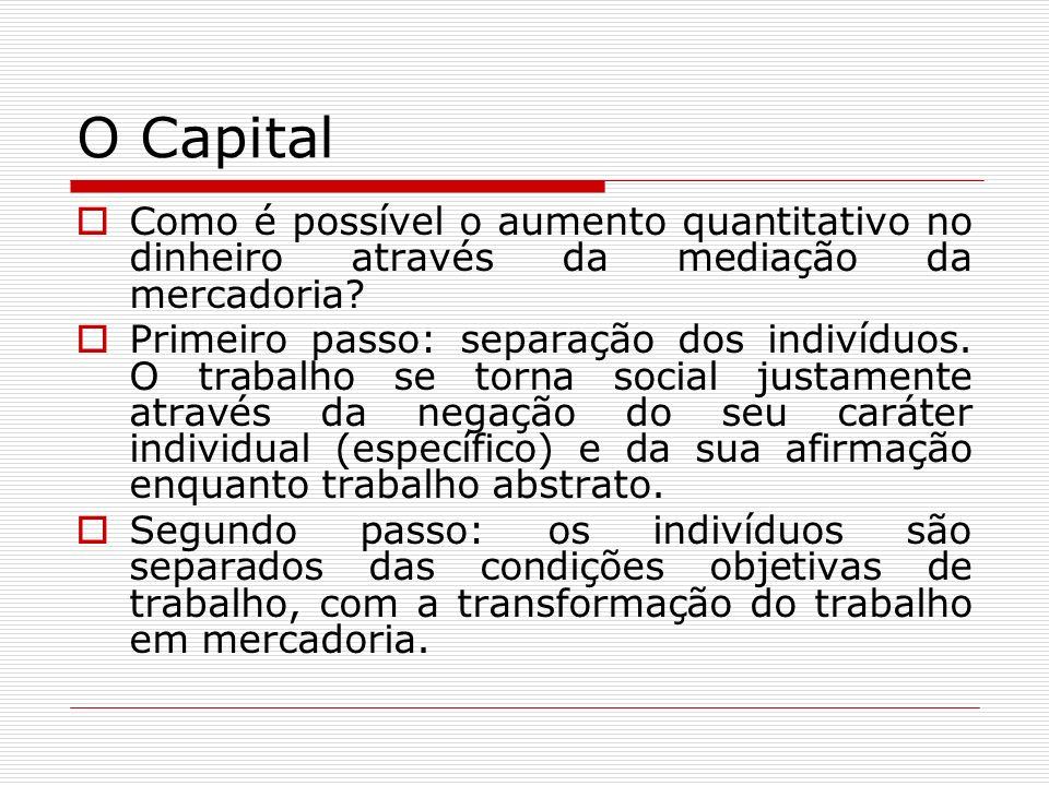 O Capital Como é possível o aumento quantitativo no dinheiro através da mediação da mercadoria