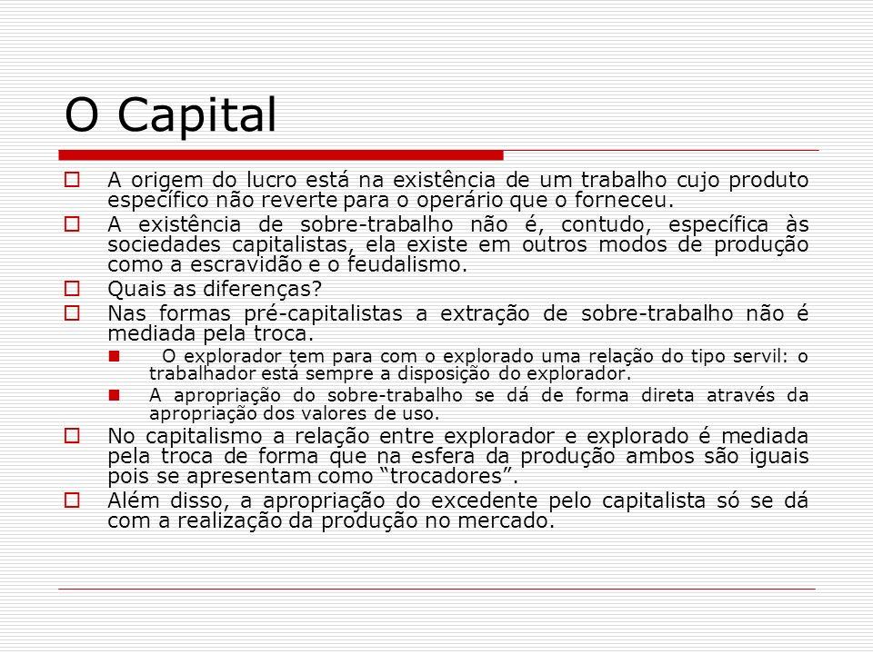 O Capital A origem do lucro está na existência de um trabalho cujo produto específico não reverte para o operário que o forneceu.