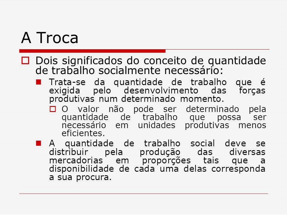 A Troca Dois significados do conceito de quantidade de trabalho socialmente necessário: