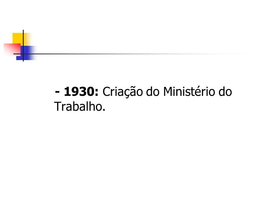- 1930: Criação do Ministério do Trabalho.