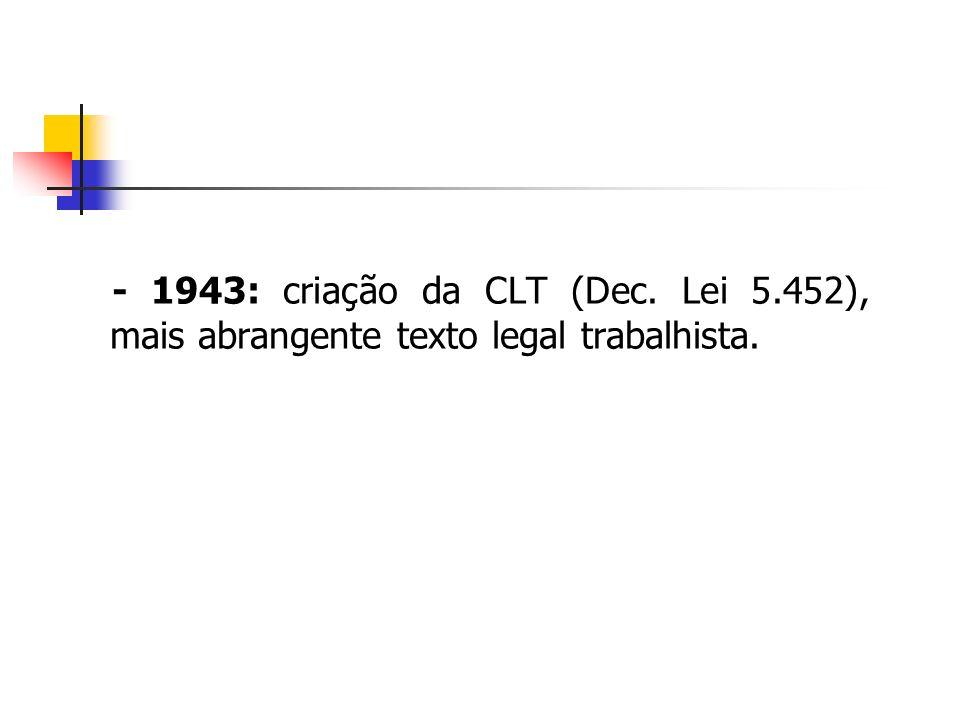- 1943: criação da CLT (Dec. Lei 5