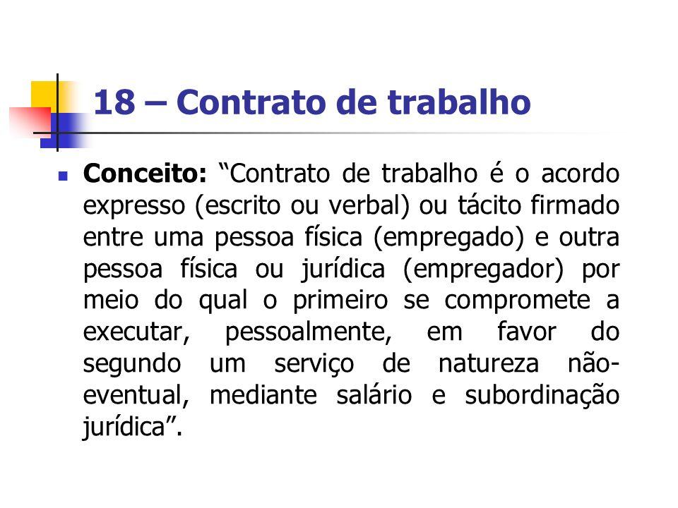 18 – Contrato de trabalho