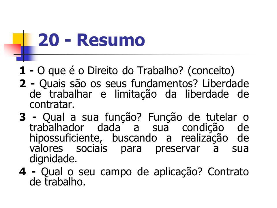 20 - Resumo 1 - O que é o Direito do Trabalho (conceito)