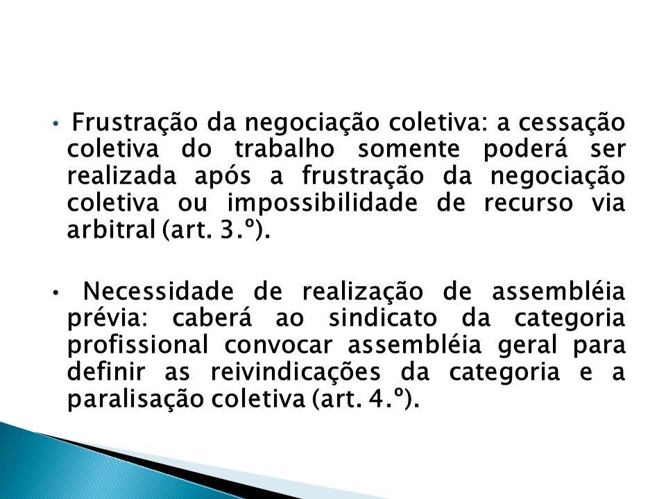 • Frustração da negociação coletiva: a cessação coletiva do trabalho somente poderá ser realizada após a frustração da negociação coletiva ou impossibilidade de recurso via arbitral (art. 3.º).