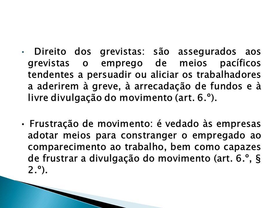 • Direito dos grevistas: são assegurados aos grevistas o emprego de meios pacíficos tendentes a persuadir ou aliciar os trabalhadores a aderirem à greve, à arrecadação de fundos e à livre divulgação do movimento (art. 6.º).